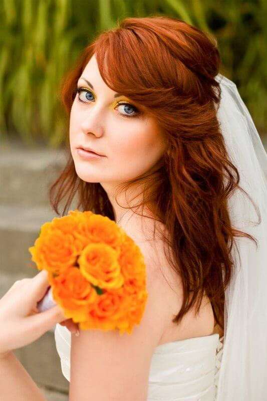 Svatební kytice z oranžových růží