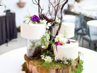 Sada tří malých dortíků dekorovaných větvičkami