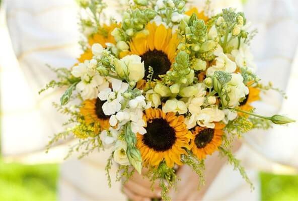 Slunečnice kombinované s bílými květy