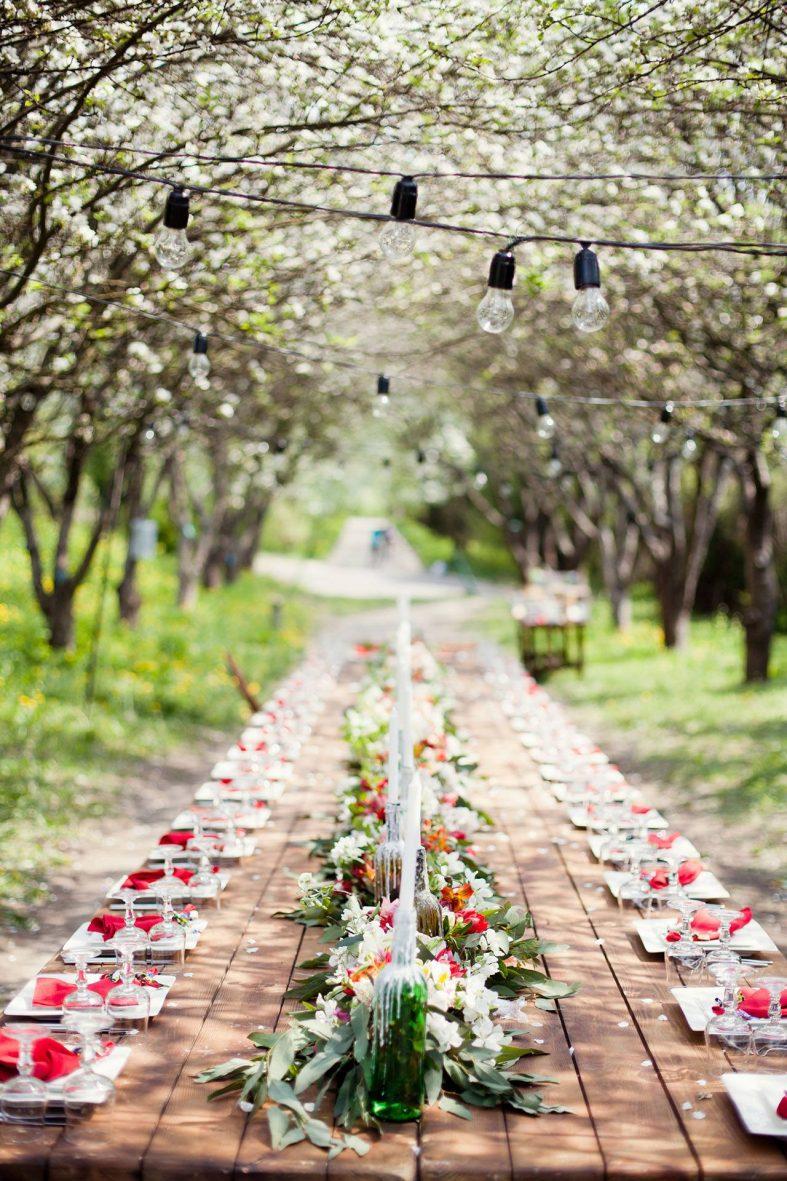 Svatební hostina na zahradě