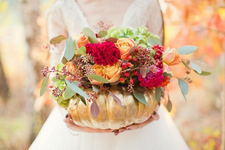 Svatební kytice v dýni