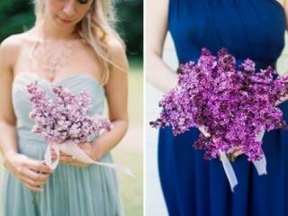 Svatební kytice z fialového šeříku