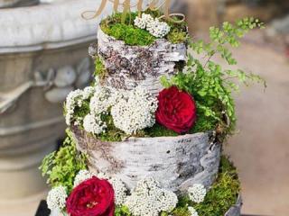 Třípatrový dort vytvořený z březové kůry
