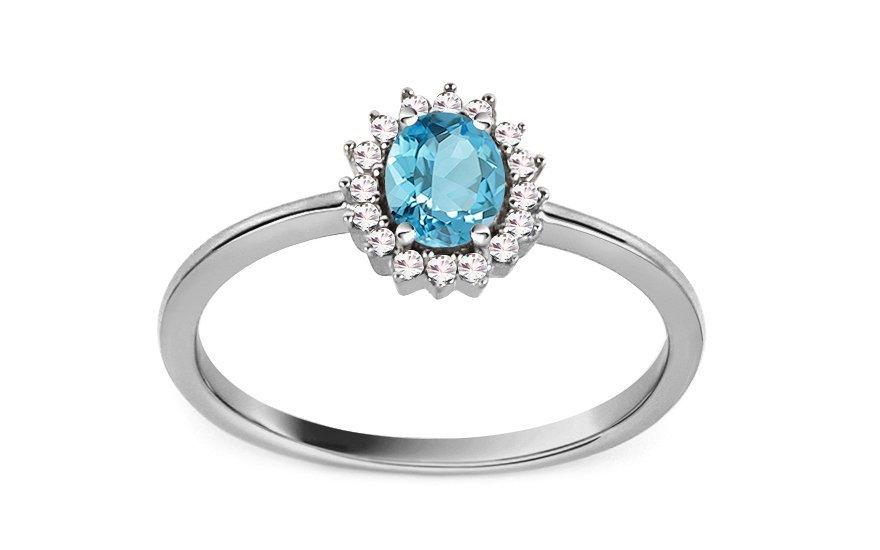 Zásnubní prsten z bílého zlata s topazem a diamanty