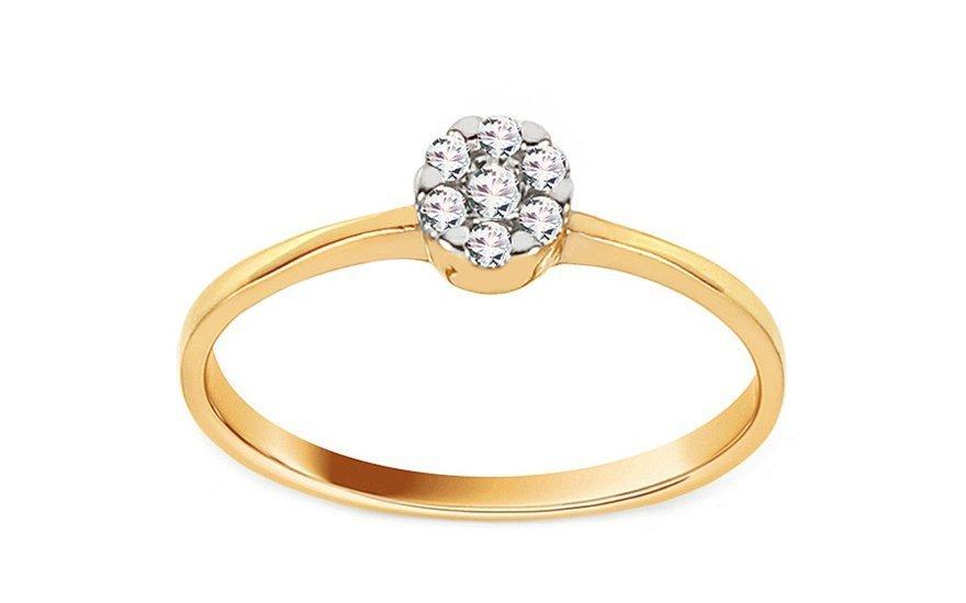 Zlatý zásnubní prsten se zirkony